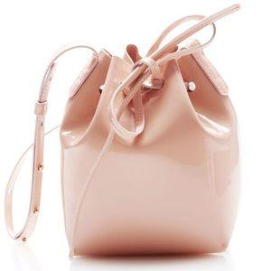 Mansur Gavriel Patent Mini Bucket Bag in Peach